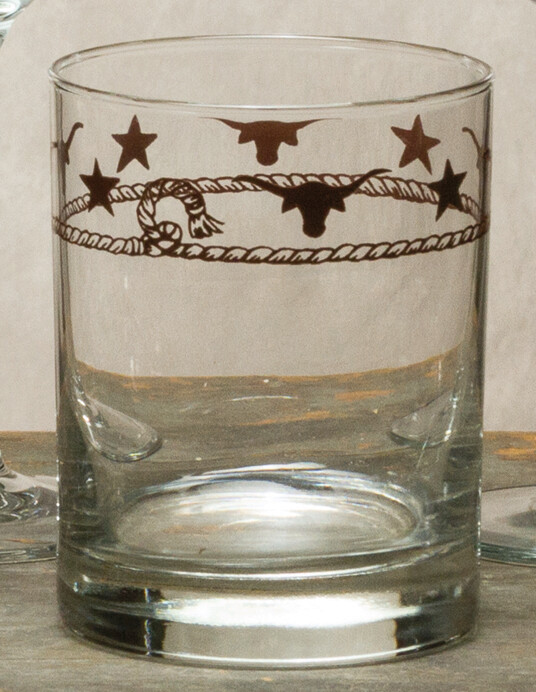 14oz whiskey, set of 4, stars & longhorns
