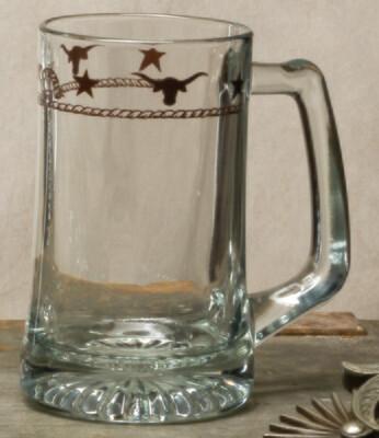 15oz beer mug, set of 4, stars & longhorns