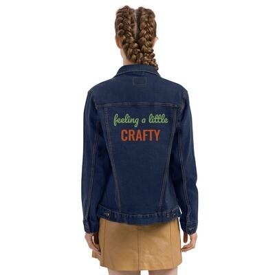 Feeling a Little Crafty unisex flat embroidery denim jacket