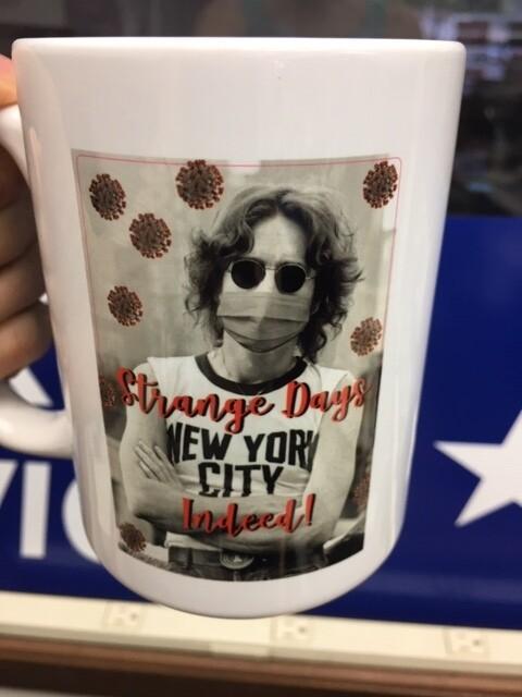 Strange Days Indeed John Lennon 15 oz. Social Distancing Ceramic Mug. Includes shipping.