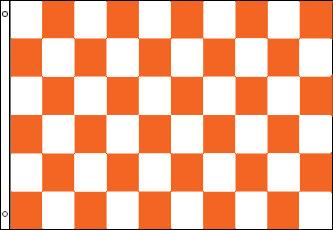 Checkered Flag - Orange and White