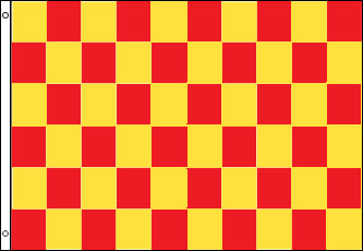 Checkered Flag - Red and Yellow