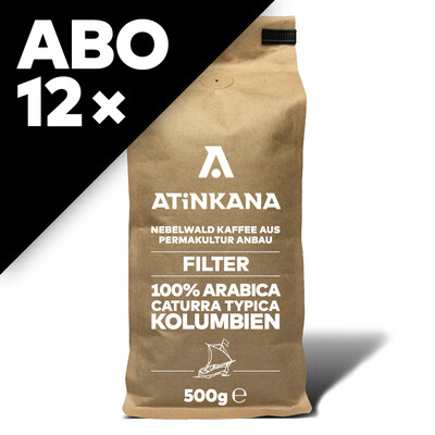 12 × Atinkana Kaffee 500g Filter ABO