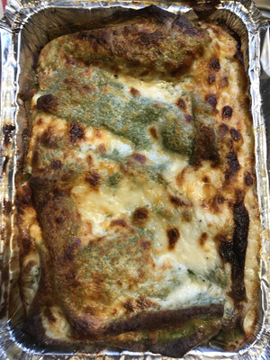 Four Cheese Lasagna W. Spinach Pasta & White Sauce. (over 2lbs Frozen)