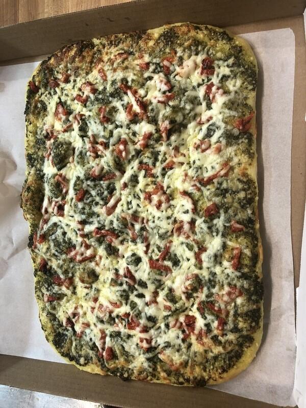 Home Made Pesto Focaccia (Roman Style Whole Pizza)
