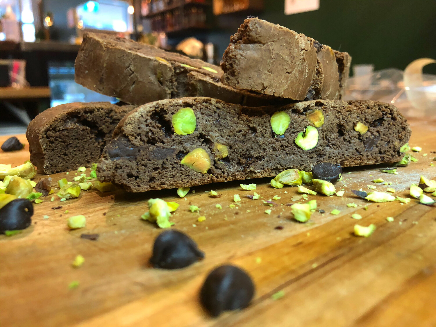 Dark Chocolate Nutella Pistachio Biscotti