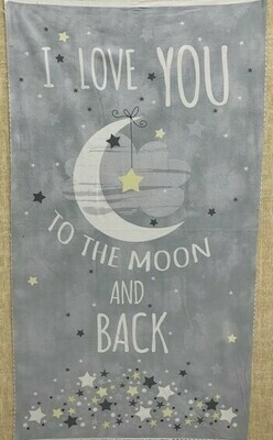 Love You To The Moon Flannel Panel