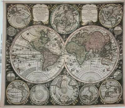 Vintage Blueprint Digital Map Panel