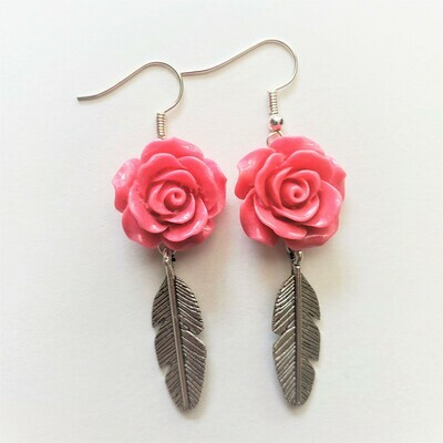 Feathers & Roses Earrings