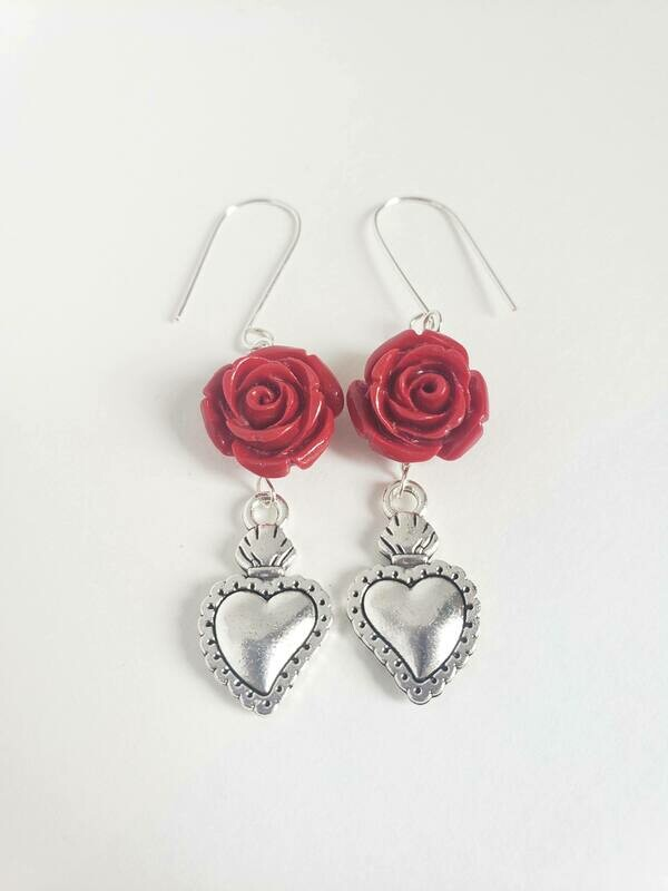 Roses & Hearts Earrings Red