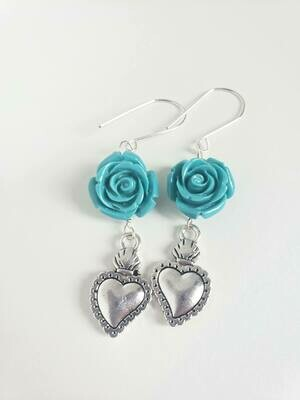 Roses & Hearts Earrings Turquoise