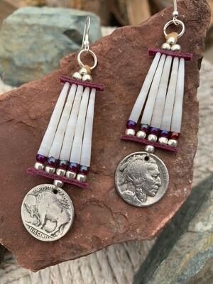 Indian Head/Bison Nickel Earrings