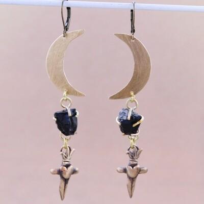 Moons & Obsidian Dagger Earrings