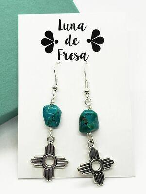 Turquoise & Zia Earrings -