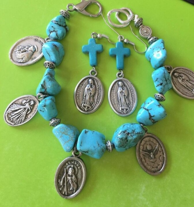 Religious Charm Bracelet With Medals and Matching Earrings