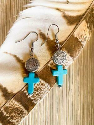 Faux Turquoise Cross Medallion Earrings