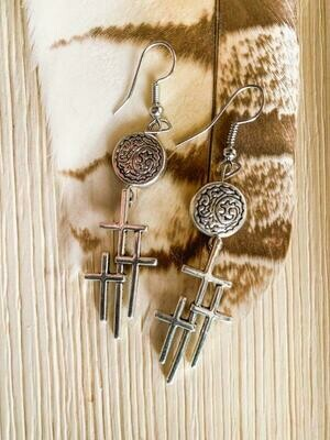 Tri Cross Medallion Earrings