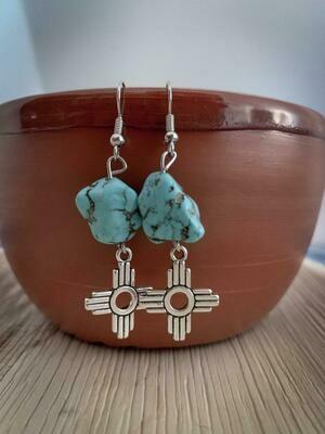 Zia w/ faux Turquoise Nugget Earrings