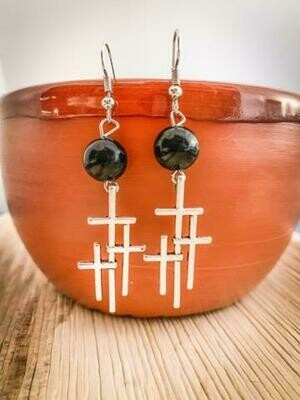 Tri Cross and Black Button Earrings