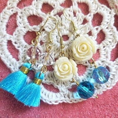 Blue Roses and Bead Earrings (Two Sets!)