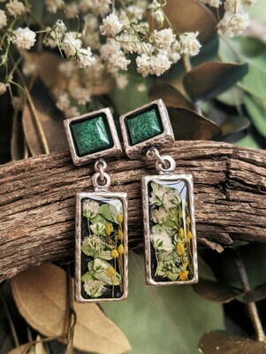 White Blossom & Yellow Meadow Grass Hammered Silver Earrings
