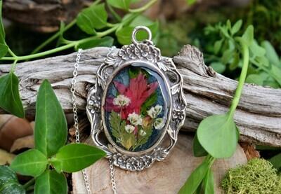 Lg. Pendant-Necklace-Teal BurgUndy Flower
