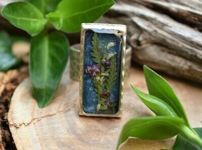 Silver Ring-Rectangular Blue Purple Flowers