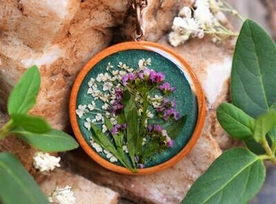 Wood Pendant Necklace-Green & Purple