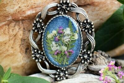 Pendant Necklace-Victorian Floral Blue