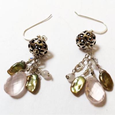 Rose Quartz and Keishi Pearl Earrings