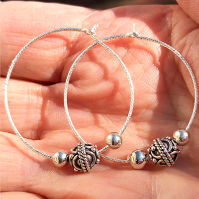 Silver Hoop Earrings with Silver Beads
