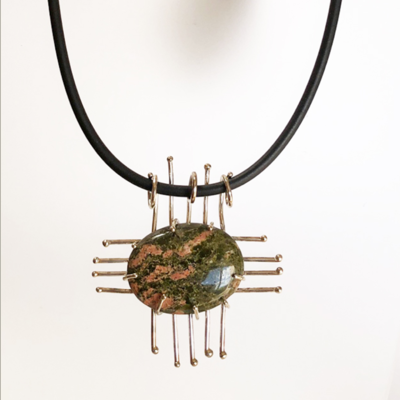 Sterling Silver Unakite Zia Pendant and Black Cord Necklace