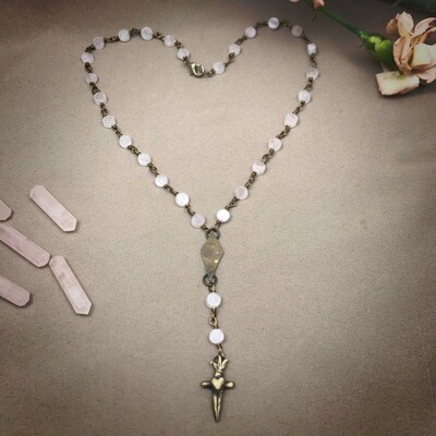 Rose Quartz Star and Dagger Rosary Necklace
