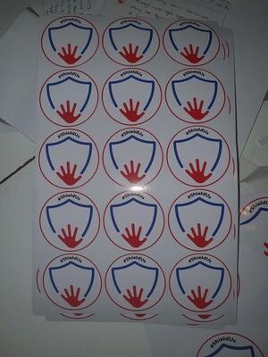Sheet of stickers, car bumper sticker, door poster and 2 badges.