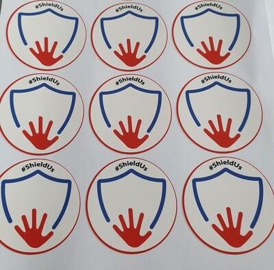 Sheet of vinyl ShieldUs stickers