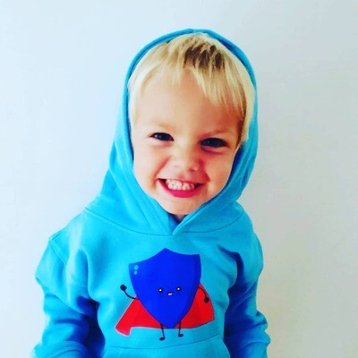 Age 2 blue superhero shield hoodie