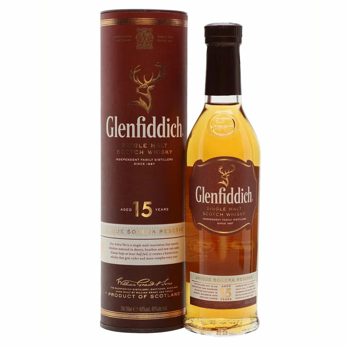 Glenfiddich 15yr Old Whisky 200ml