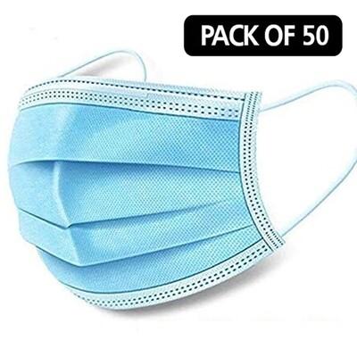 50 Blue Disposable Face Masks 3 Ply