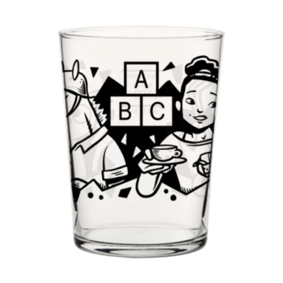 Alphabet ABC 2 Thirds Glass