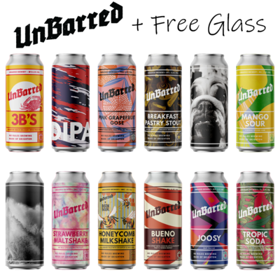 """Featured Brewery """"UnBarred 12 Pack + Free Glass"""""""