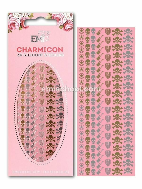 Charmicon 3D Silicone Stickers Rock MIX Gold/Silver