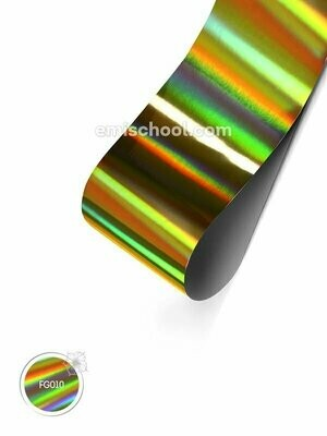 Foil holographic gold Transverse stripes, 1.5 m.