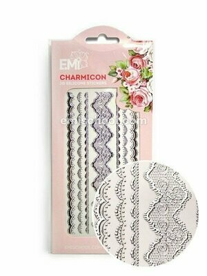 Charmicon 3D Silicone Stickers Lace Silver