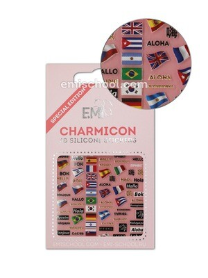 Charmicon 3D Silicone Stickers Flags/Hello
