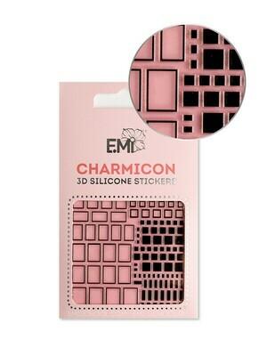 Charmicon 3D Silicone Stickers #160 Squares Black