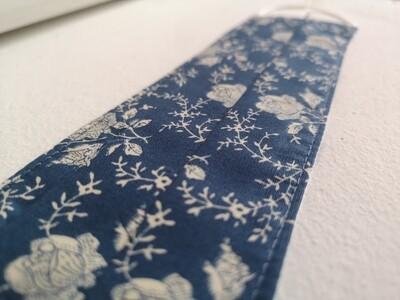 Denim Blue Floral Facemask