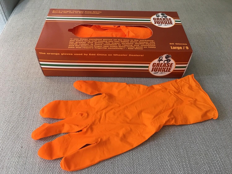 Grease Junkie Extra Length Orange Nitrile Gloves