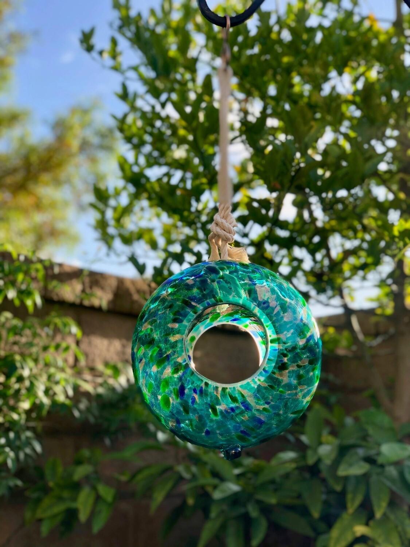 """Handmade Art Glass Bird Feeder 8.7"""" Sun Catcher-Green"""