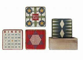 4 Vintage Board Game Coasters in Wood Holder