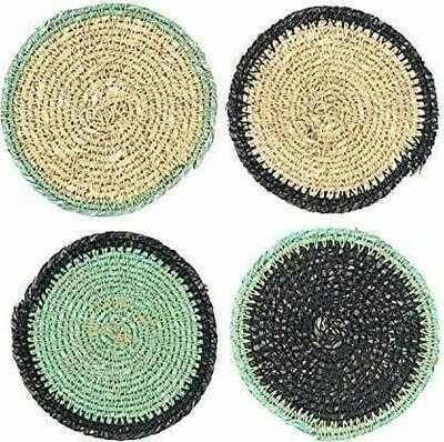 Round Seagrass Burlap Bag (Set of 4 Coaster)
